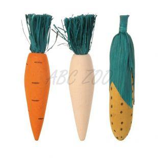 Fa játék rágcsálónak - 3 db zöldség - 10 cm