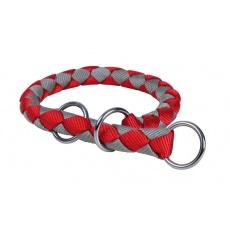 Piros - szürke színű szabályozó nyakörv - M, 39 - 45 cm