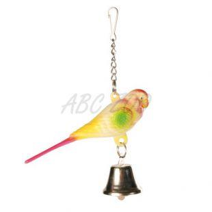 Madárjáték - hullámos papagáj csengővel, 9 cm
