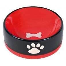 Kerámia edény kutyának - fekete, fehér tappancs minta - 300 ml