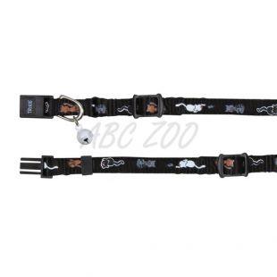 Mintás nyakörv macska számára, fekete - 15 - 20 cm