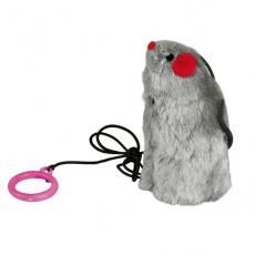 Cica játék - gumival ellátott egér, hanggal, 9 cm