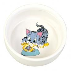 Edény macskáknak figurával, kerámia - 0,3 l