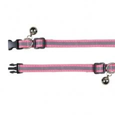 Nyakörv cicának, fényvisszaverő, rózsaszín - 15 - 20 cm