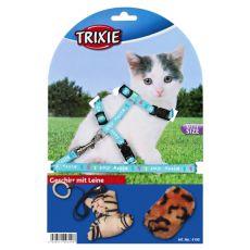 Macskahám pórázzal és játékkal, kék
