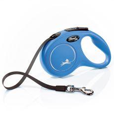 Flexi póráz New Classic S 15 kg -ig, 5 m hevederrel – kék