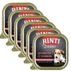 Nedves kutyaeledel RINTI FEINEST baromfi és sonka 6 x 150 g