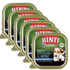 Nedves kutyaeledel RINTI Bio baromfi szívek 6 x 150 g