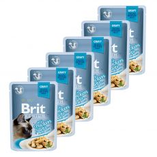BRIT Prémium Zacskós macskaeledel, csirke szaftban 6 x 85 g