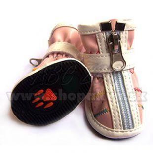 Cipzáros cipő kutyáknak - rózsaszín (4db), 3-as méret