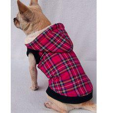 Dzseki kutyáknak - kockás, sötétrózsaszín, XS
