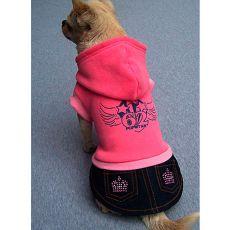Pulcsi kutyának és farmer kutyaszoknya - rózsaszín, S