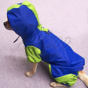 Kutya esőkabát, kék - zöld, XS