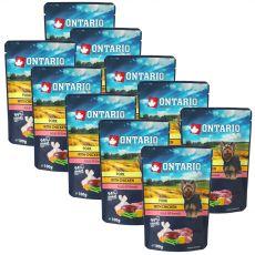 ONTARIO DOG zacskós kutyaeledel: sertés csirkével húslevesben 10 x 100 g