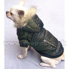 Viharkabát kutyáknak - tollkabát, olivazöld, XS