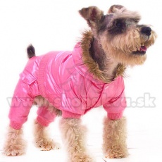 Téli overál kapucnival kutyáknak - rózsaszín, XS