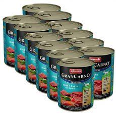 GranCarno Original Adult konzerv marha és lazac + spenót - 12 x 800g