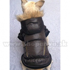 Kutya viharkabát - tollkabát, barna, cipzár, XS