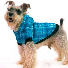 Kabát kutyusoknak - kockás, kék, XS