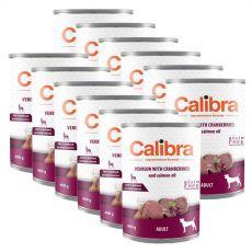 Calibra Dog Adult Grain Free konzerv - Vadhús tőzegáfonyával és lazacolajjal, 12 x 400g
