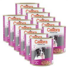 CALIBRA Premium Adult konzerv - vadhús és marhahús, 12 x 800 g