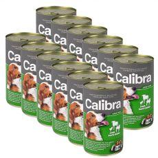 Konzerv Calibra Dog Adult bárány, marha és csirke azpikban,  12 x 1240g