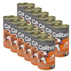 Konzerv Calibra Dog Adult pulyka, csirke és tészta aszpikban , 12 x 1240g