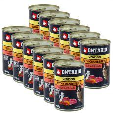 ONTARIO kutyakonzerv, vadas, áfonya és olaj - 12 x 400g