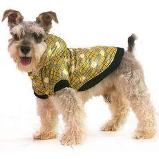 Kockás kabát kutyának - sárga, XS