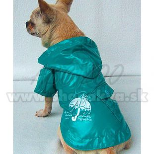 Esőkabát kutyának - türkizzöld, esernyő, XS