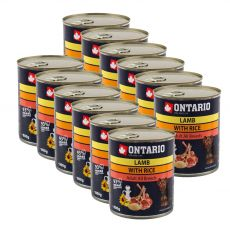 ONTARIO kutyakonzerv, bárány, rizs és olaj - 12 x 800g