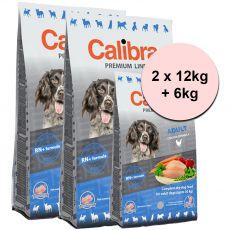 CALIBRA Dog Premium Line ADULT 2 x 12kg + 6kg GRATIS