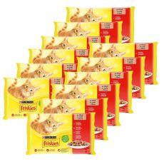 Friskies alutasakos macskaeledel - csirke, marha, bárány és kacsa szószban 12 x (4 x 85 g)