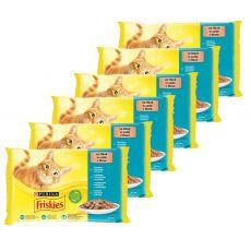 Friskies alutasakos macskaeledel - lazac, tonhal, szardínia és tőkehal szószban 6 x (4 x 85 g)