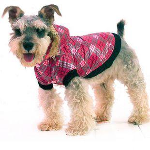 Kutya viharkabát - kockás, rózsaszín S
