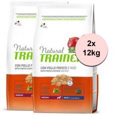 Trainer Natural Adult Medium, csirkehús és rizs 2 x 12kg