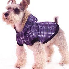 Kabát kutyáknak - kockás, lila, XL