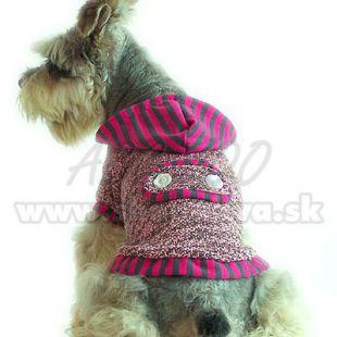 Kapucnis pulcsi - rózsaszín-szürke, pamut, XL