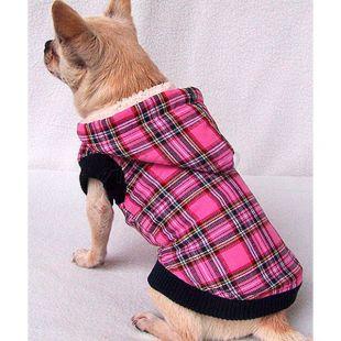 Bélelt kabát kutyusoknak kapucnival - kockás, rózsaszín, XL
