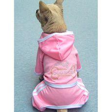 Rózsaszín kutya melegítő - csont, XXL