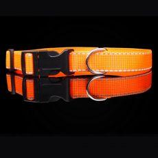 Fényvisszaverő nejlon nyakörv, narancs 2,5 cm x 38 - 60 cm