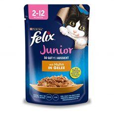 Pouch FELIX Junior Fantastic csirkéből kocsonyában 85 g
