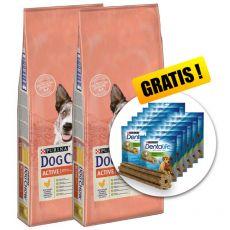 PURINA DOG CHOW Active 2 x 14 kg + AJÁNDÉK