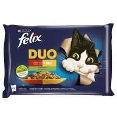 FELIX Fantastic DUO zacskós eledel, ízletes válogatás zöldségekből kocsonyában 4 x 85 g