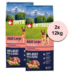 ONTARIO Adult Large Beef & Rice 2 x 12kg