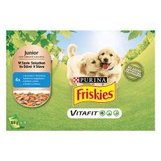 FRISKIES Junior VitaFit tasakos eledel kölyökkutyák részére csirkéből és sárgarépából szószban 4 x 100 g