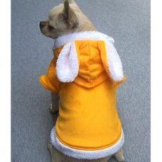 Pulcsi kutyáknak, kapucnis - fülecskék, sárga, XL