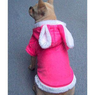 Kapucnis kutyapulóver fülekkel - rózsaszín, XL