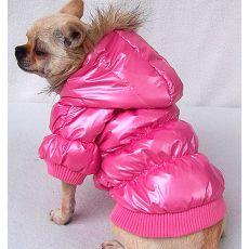 Széldzseki kutyáknak - rózsaszín tollkabát, XL