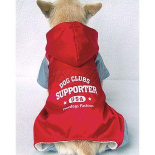 Kutya kezeslábas, sportos, szürke - piros, XL